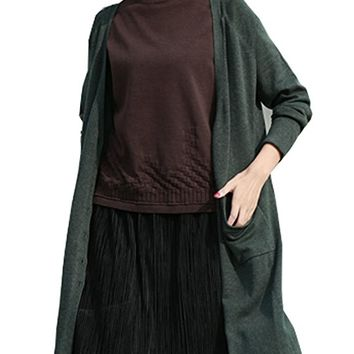Women'Wool Pashm Knit Jacket Coat Sweater Casual Loose Fitting Green