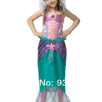 kid Children birthday party halloween carnival princess Ariel mermaid dress from The Little Mermaid dress  party clothing