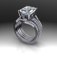 Bridal Set Emerald Cut Forever Brilliant Moissanite and Diamonds 5.36 CTW
