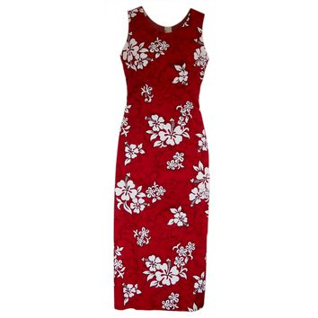 Seastar Red Long Hawaiian Tank Dress