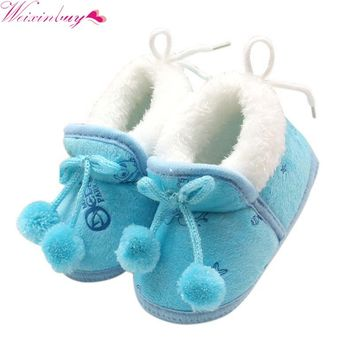 Newborn Baby Girls Princess Bowknot Winter Warm Boots Soft Soled Infant Toddler Kids Girl Cack Shoes