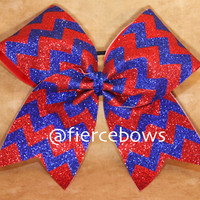 Glitter Chevron Cheer Bow - Choose Your Colors