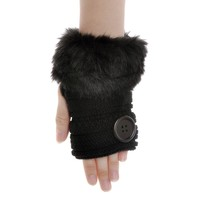 ZLYC Women Classic Faux Fur Button Hands Wrist Fingerless Stretchy Knit Gloves Black