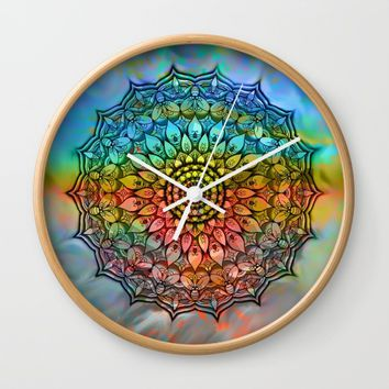 Mandala In the wind Wall Clock by Jeanette Rietz