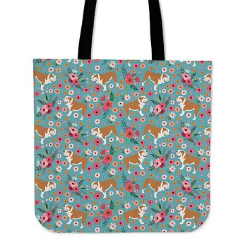 Bulldog Flower Linen Tote Bag - Promo