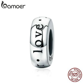 BAMOER Romantic Sterling Silver I Love You Forever Engraved Charm