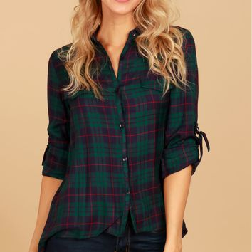Buckle Sleeve Plaid Top Navy Green
