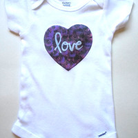 purple love heart fashionable Baby Onesuit for trendy and cute baby girls