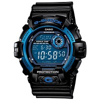 Casio Mens G-Shock Black and Blue - Super Illuminator - 200M WR - Flash Alert
