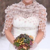 Shrug Bolero Shawl / Bridal Shrug / Crochet Shrug  Wedding Accessories / Neckwarmer / Bride Accessories Winter Wedding Caramel Shrug