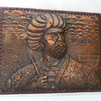 Hayreddin Barbarossa copper repousse picture by cabinetocurios