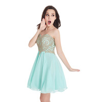 2017 Real Photos Lovely Sweetheart Gold Lace Mint Green Chiffon Homecoming Dresses Short A Line Prom Party Dress