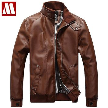 New Fashion Male Leather Jacket Plus Size XXXL 4XL 5XL Black Brown Mens Mandarin Collar PU Coats Leather Biker Jackets F091