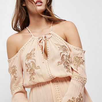Pink floral embroidered cold shoulder top - bardot / cold shoulder tops - tops - women