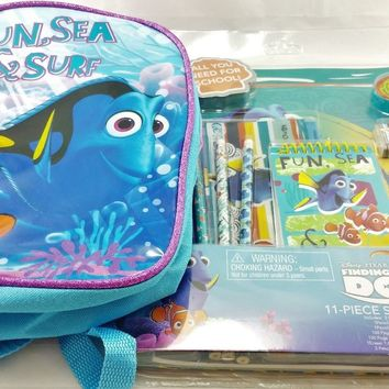 "Disney Pixar Finding Dory 10"" Canvas Blue & Pink Backpack w/11-pc Stationery Set"