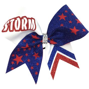 Storm cheer bow with stars.
