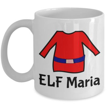 Elf Mug Perfect for Holidays, Birthday, Girls, Boys Gift for Him & Her - Inspirational Santa Humor & Personalized Name Cup - Elf Kid Gifts - Name Personalization Cup For Hot Cocoa, Coffee & Tea