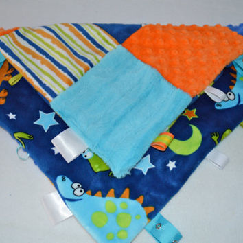 Lovey Minky Baby Blanket -  Monogrammed Patchwork - Dino, Turquoise, Blue, Orange, Dinosaur - Taggie