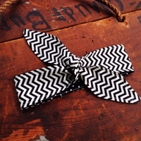 Dolly Bow Tie Up Headscarf Headband Bandana - Hair Accessory Boho Head Wrap - Rockabilly Top Knot - Reversible - Black White CHEVRON Scarf