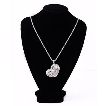 Alloy with Rhinestone Crystal Love Long Necklace