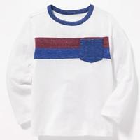 Slub-Knit Color-Block Pocket Tee for Toddler Boys|old-navy