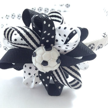 "Black & White Soccer Ball 2.5"" Hair Bow - 11mm Headband Set - Wrapped 1/2"" Headband - Handmade Soccer Headband, Soccer Hair Bow"