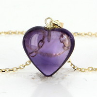 Vintage Amethyst Heart Pendant Necklace 14 Karat Yellow Gold Estate Fine Jewelry