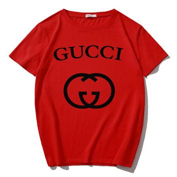 GUCCI Summer Fashion New Bust Letter Print Women Men Sports Leisure T-Shirt Top Red