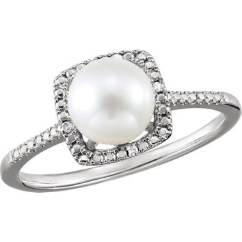 Sterling Silver Freshwater Cultured Pearl & .01 CTW Diamond Halo-Style Ring