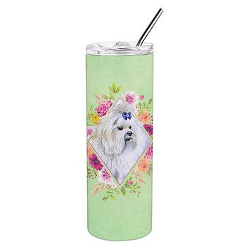 Maltese Green Flowers Double Walled Stainless Steel 20 oz Skinny Tumbler CK4319TBL20