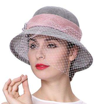 June's Young Women Hats 100% Sinamay Veil Decorate Elegant Lady Wedding Party Fashion Wear Hats Blue Pink Color Summer Fedoras