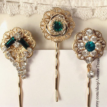 Vintage Emerald Green & Clear Rhinestone Gold Bridal Bobby Pins - 22K Gold Heirloom Jeweled Hair Pins Set of 3