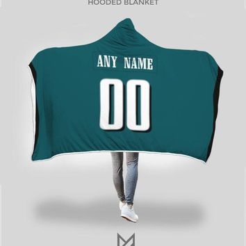 Philadelphia Eagles Hooded Blanket - Personalized Any Name & Any Number