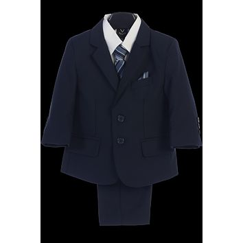 Navy 5-pc Boys Husky Two Button Suit with Vest 8H-20H