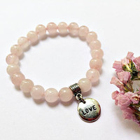 Love Stone Rose Quartz Beaded Bracelet: gemstone beads stretch bracelet