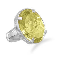 Faceted Lemon Quartz Ring
