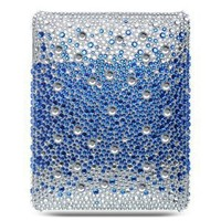 Apple iPAD i-Pad 3G, Wifi Model 16GB 32GB 64GB Tablet Slate Premium Full Diamond Crystals Bling Protective Case Cover Silver with Blue Splash Design