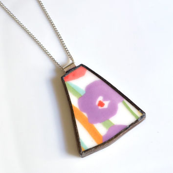 Broken Plate Pendant on Chain - Purple Flower- Recycled China