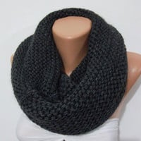 ON SALE CHUNKY Scarf - Elegant and soft  Infinity Scarf  Circle Scarf   Knit Fall Scarf  Dark gray