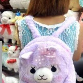 Backpack school bag alpaca plush toys doll