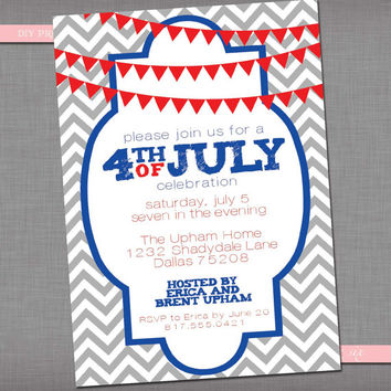DIY Printable Fourth of July Invitation - Independence Day Party Invitation - Chevron July 4th Invitation