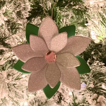 Hanging White Poinsettia Ornament, Handmade Paper Flower Christmas Tree Decoration, Festive Holiday Gift