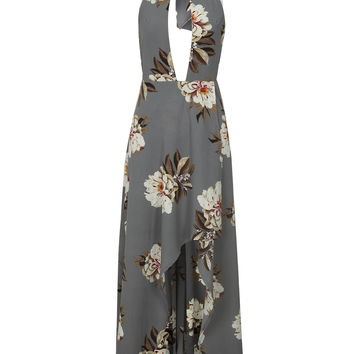 Gray Choker Neck Slit Front Floral Print Hi-lo Maxi Dress