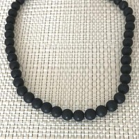 Mens Matte Black Onyx Beaded Long and Short 6mm Necklace