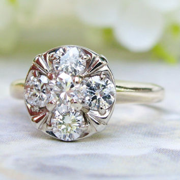 Romantic Vintage Engagement Ring 0.80ctw G-H/SI2 Halo Diamond Cluster Ring 14K Two Tone Gold Ring Feminine Floral Diamond Wedding Ring!