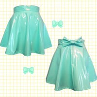 Pastel MINT PVC skater skirt with removable BOW back