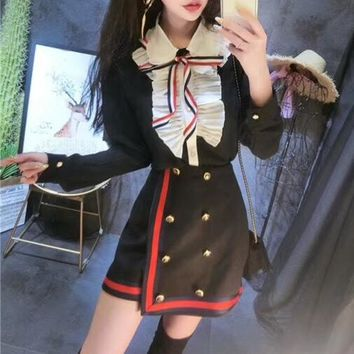"""Thom Browne"" Temperament Retro Fashion Multicolor Bow Long Sleeve Shirt Irregular Double Row Buttons Short Skirt Set Two-Piece"