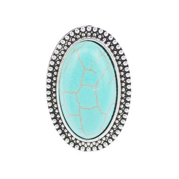 Oval Turquoise Boho Ring Adjustable Festival Silver Tone Southwestern Cowboy Hippie Tribal Native Indie Jewelry