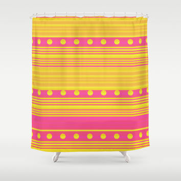 Pink and Gold Shower Curtain by nandita singh