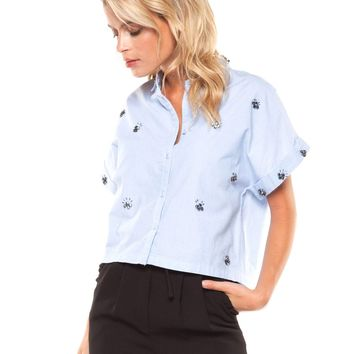 Beaded Cropped Shirt - Slub Chambray by Dex